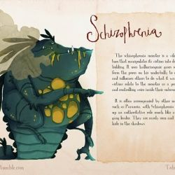 The Monsters of Mental Illness, Illustrations by Toby Allen.: Illness Illustrated, Real Monsters, Mental Monsters, Mental Health, Mental Disorder, Schizophrenia Monster, Mental Illness Monsters