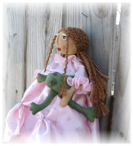 primitive princess and frog doll made with my copyrighted pattern my work may inspire you ,but is not to be copied please and thank-you (: