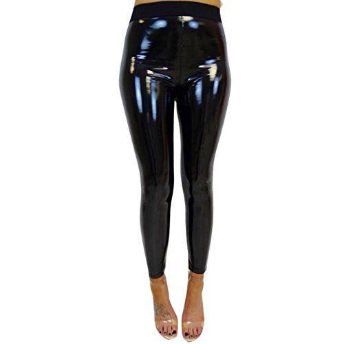 FEMMES Wet Look Pvc Cuir Femme Taille Haute Stretch Leggings Pantalon PVC Pantalon