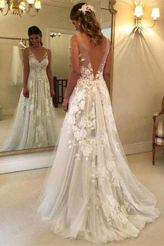 Fabulous Tulle A Line V Neck Floor Length Lace Wedding Dresses With Appliques Sw166 Wedding Dresses Dream Wedding Dresses Backless Wedding