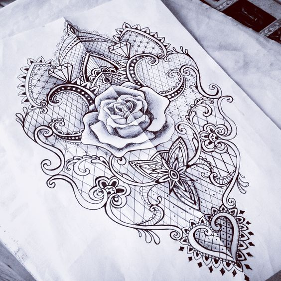 Lace rose baroque mantra tattoo sketch woman - something like this on your back