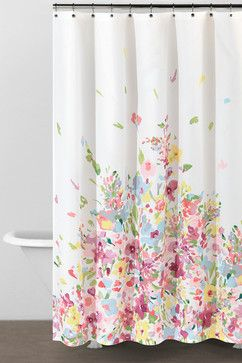 Watercolor Bouquet Shower Curtain Contemporary Curtains