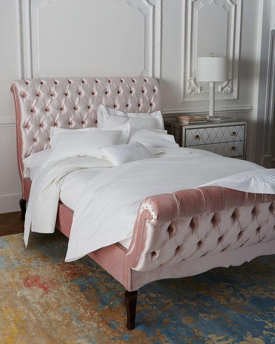 Duncan Tufted California King Bed, Blush - Haute House