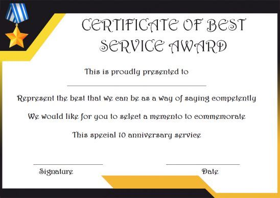 10 Years Service Award Certificate 10 Templates To Honor Years Of Service Template Sumo In 2020 Awards Certificates Template Service Awards Award Template
