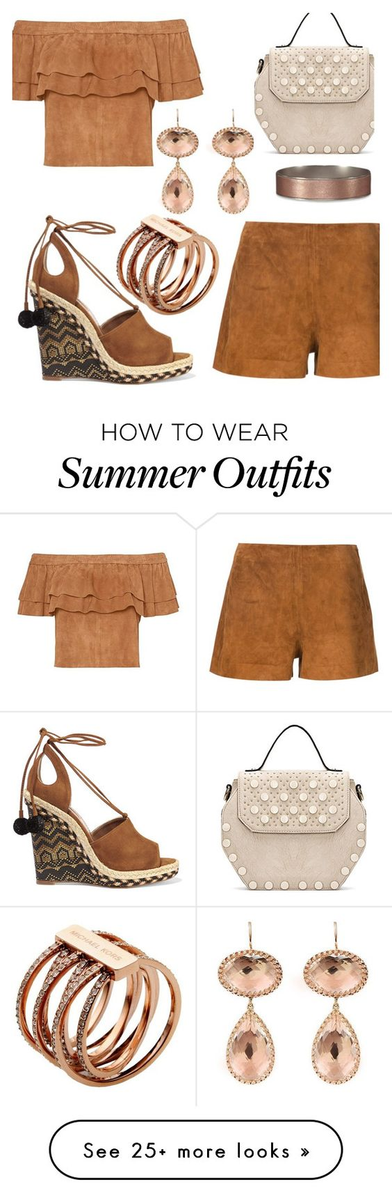"""""""Suede Outfit Summer To Fall"""" by deborah-calton on Polyvore featuring rag & bone, Abercrombie & Fitch, Aquazzura, Larkspur & Hawk and Michael Kors"""