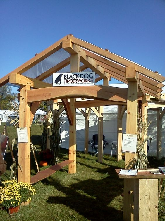 Pavilion timber frames and frames on pinterest for Timber frame house kits for sale