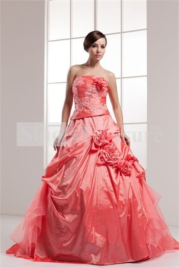 Light Coral Brush/ Sweep Train Satin Beading/Appliques Satin Prom Dress -Wedding  ✿