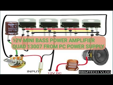 Bass Amplifier Using Quad 13007 Transistor From Pc Power Supply Youtube Amplifier Transistors Power Amplifiers