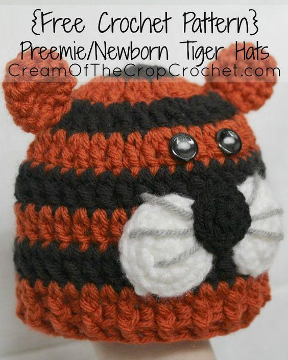 Cream Of The Crop Crochet ~ Preemie/Newborn Tiger Hats ...