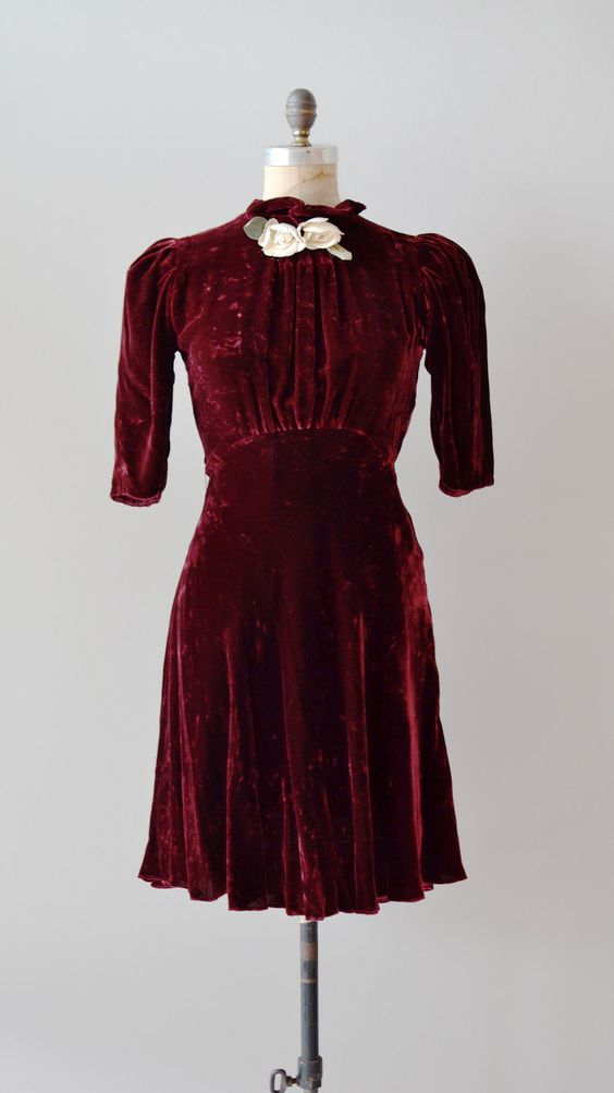 Burgundy velvet 1930s dress
