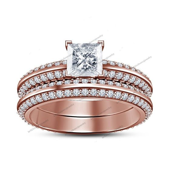 2.1CT Diamond Bridal Wedding Ring Set Rose Gold Fn 925 Silver Knife Edge Shank #br925