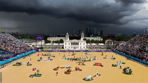 Storm clouds gather above Greenwich Park during the Individual Showjumping.