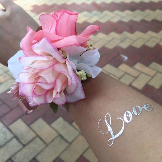 Metallic silver love words wedding flash temporary tattoo sticker on wrist