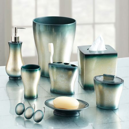Bath accessories resins and bath on pinterest for Blue and gold bathroom accessories