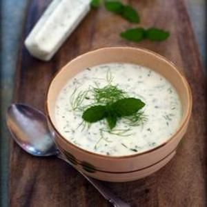 Yogurt Cucumber Soup!  Full of mint and dill flavors. Simply refreshing on a hot summer day, thanks to the Gluten Free Girl!
