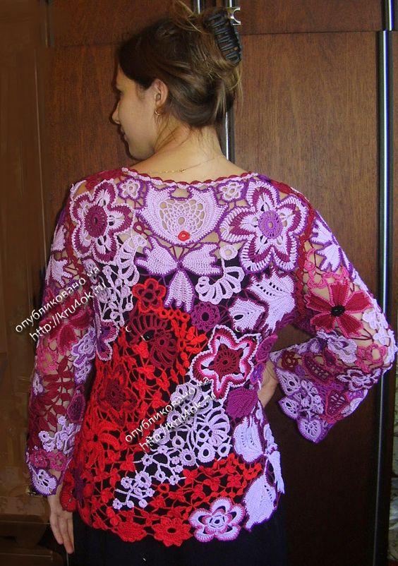 TRICO y CROCHET-madona-mía: Blusas en Crochet Irlandés o Ruso modelos