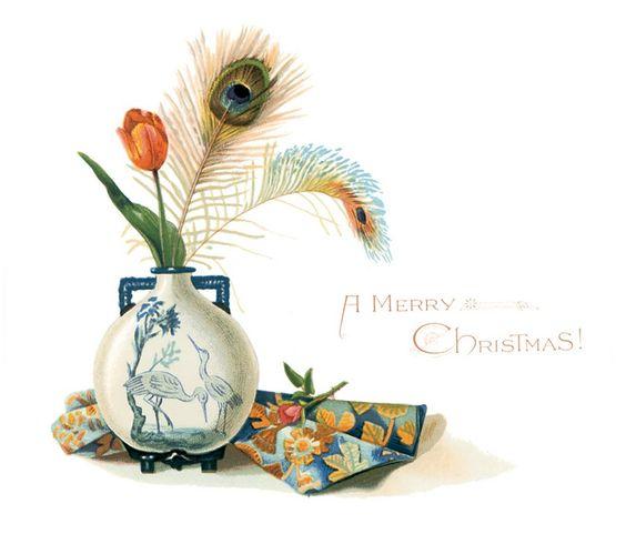 Christmas Post Card — A Merry Christmas  (900x769):
