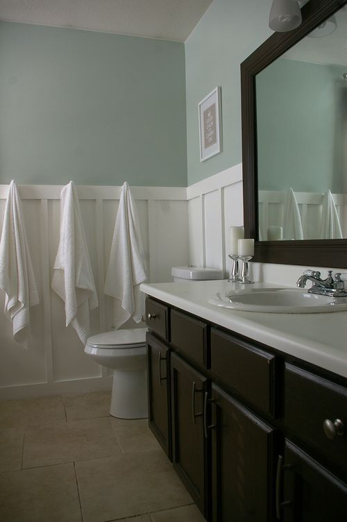 Sherwin Williams Sea Salt-love this color. Love the white wainscotting and dark vanity and mirror.