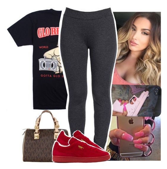 """""""Might stop the flood and continue it tomma"""" by naebreezy ❤ liked on Polyvore featuring Religion Clothing, MICHAEL Michael Kors, NYDJ and Puma"""