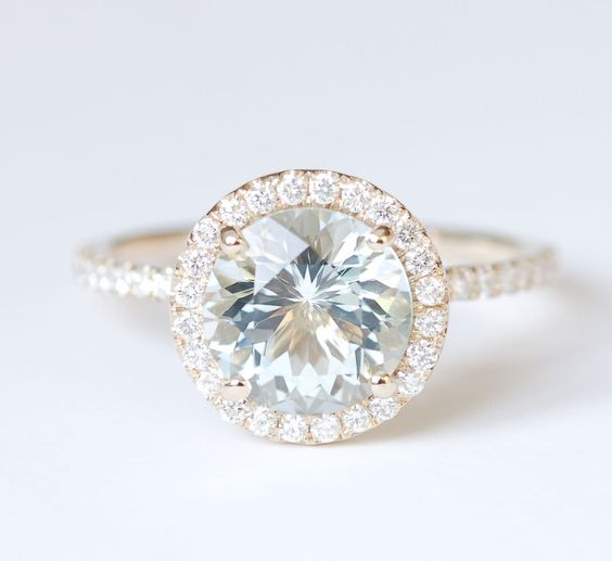 sale aquamarine halo engagement ring 14k