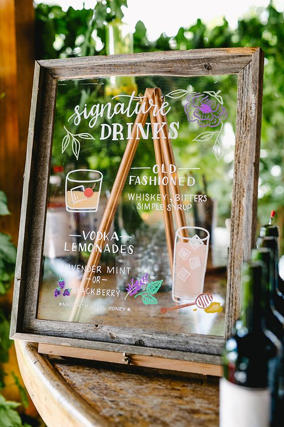 Creative Wedding Bar Signs to Style Your Cocktail Decor, ab5912454402ac29afe60ea16590c87d
