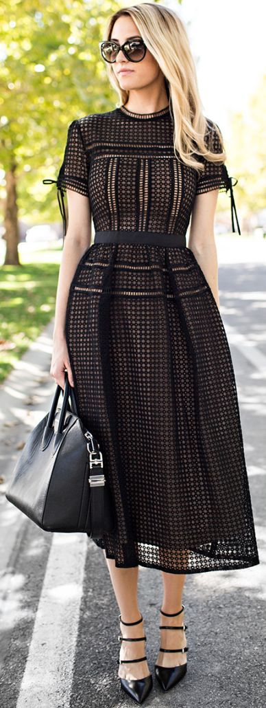 All in Black - Black Eyelet Midi Dress with Leather Handbag and Black Heels
