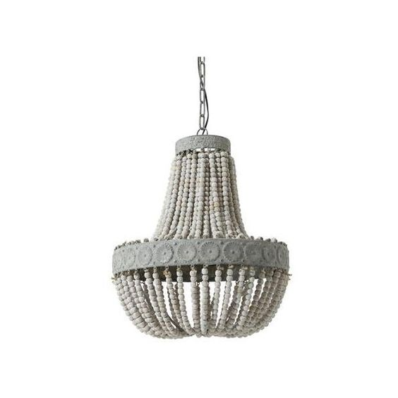 Aged Wood Beaded Chandelier ($440) via Polyvore featuring home, lighting, ceiling lights, white chandelier, white ceiling lights, beaded lighting, bead chandelier light and beaded lamp