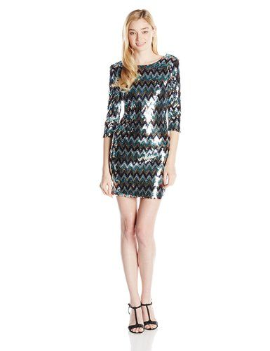 As U Wish Juniors Blue Chevron Sequin 3/4 Sleeve Dress