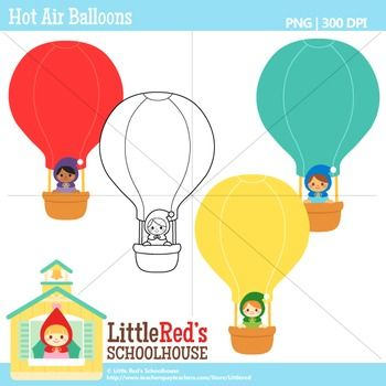 Clip Art: Hot Air Balloons - Cute FREE clipart set. For personal, educational and small-business use.