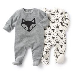 R Baby - Pyjama à pieds en velours (lot de 2) 19,98€