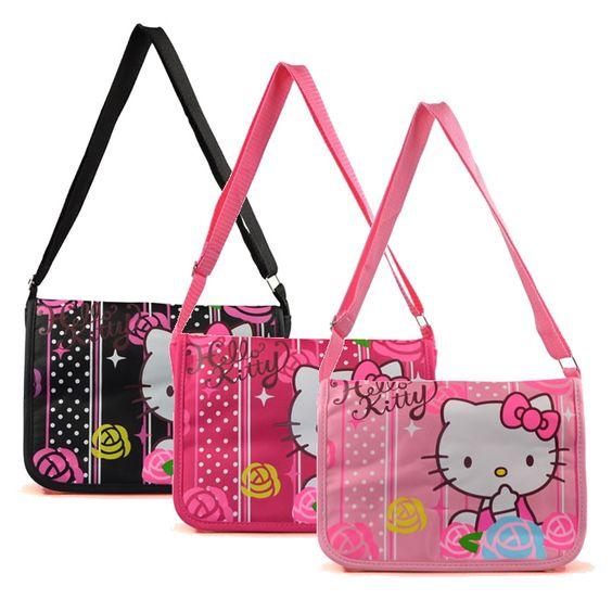 Aliexpress.com: Comprar 2015 venta caliente Hello Kitty bolsas de mensajero niños del bolso de escuela de la lona de la taleguilla bolsas mujeres Casual Shoulder Bag Schoolbag de wii bolsa fiable proveedores en HELLO KITTY FACTORY PRICE RETAILS STORE