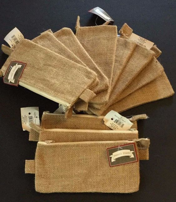 NWT Blank Pencil Pouches Burlap Natural for Crafting Set of 11 School Supplies…