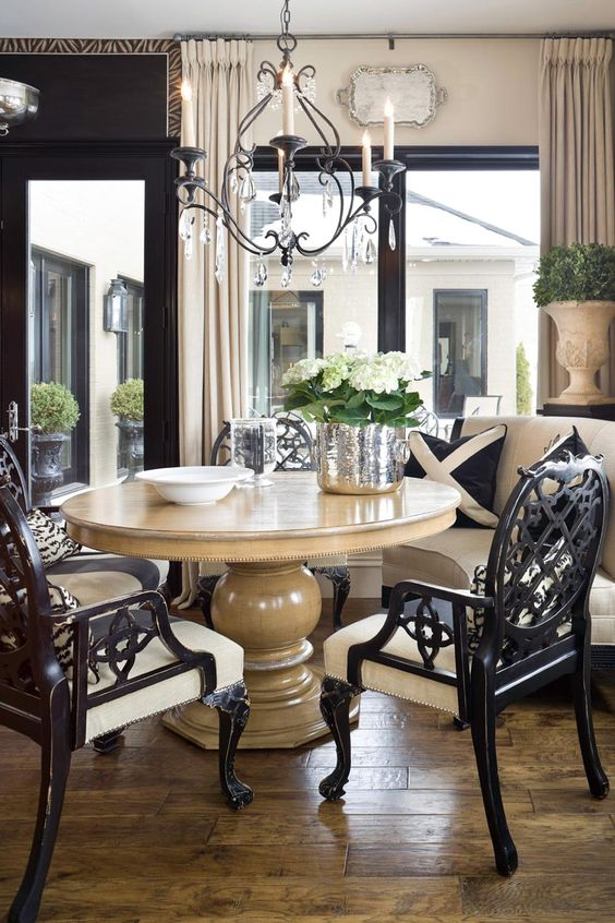Pedestal furniture and nooks on pinterest for Neutral dining room ideas