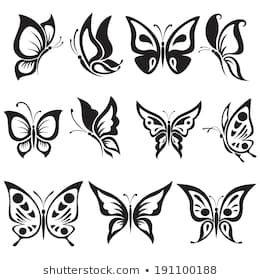 Vector Set Black And White Butterflies White Butterfly Tattoo Butterfly Black And White Butterfly Illustration