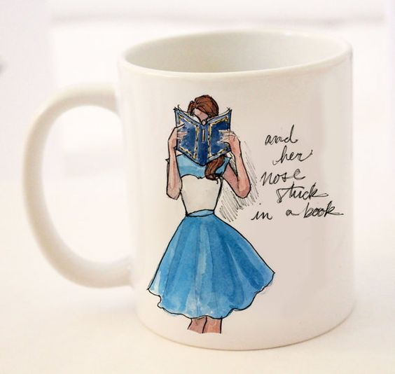 Coffee/Tea Mug: Modern Day Belle {11 oz Ceramic Mug} {Breakfast at Tiffany's, Fashion Illustration, Porcelain Mug, Cup}