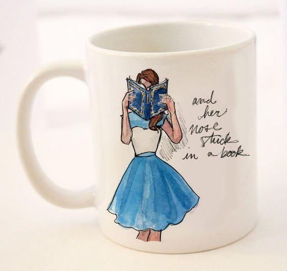Coffee/Tea Mug: Modern Day Belle {11 oz Ceramic Mug} {Breakfast at Tiffany's, Fashion Illustration, Porcelain Mug, Cup}