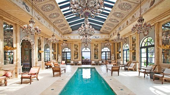 Possibly the only indoor pool room that could also double as the location for Cinderella's ball.