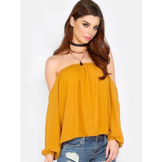 Lightweight Draped Bardot Top MUSTARD (1,065 INR) ❤ liked on Polyvore featuring tops, yellow, orange shirt, lightweight long sleeve shirt, long sleeve shirts, yellow top and shirt tops