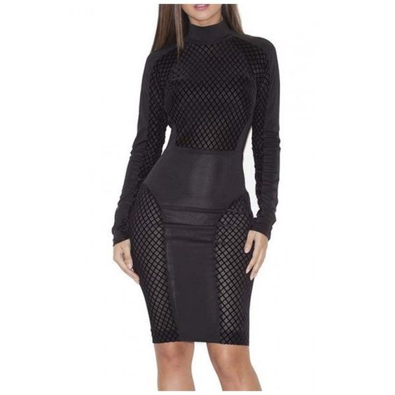 Popular High Neck Long Sleeve Bodycon Mini Dress (£24) ❤ liked on Polyvore featuring dresses, short dresses, mini dress, short long dresses, high neck bodycon dress and high neck long dress