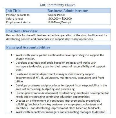 Sample Church Employee Job Descriptions Job description, Young - operation manager job description