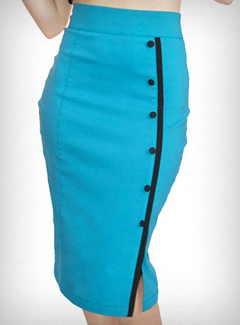 """Go retro with this darling high waisted """"Tease"""" pencil skirt, from Rock Steady. Inspired by flight attendant uniforms of the 1960's, it is made of a gorgeous bright turquoise stretch twill fabric and features black trim, black button accents, and a slit at the bottom. Classic pin-up inspired styling that'll show off your sexy curves! $54.00"""