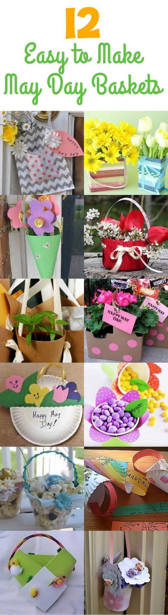 12 DIY May Day Baskets - Create some fun and unique May Day baskets to surprise your neighbors with! (http://aboutfamilycrafts.com/12-may-day-baskets-you-can-make/):