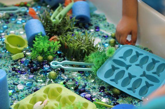 Ocean themed classroom Sensory Tub