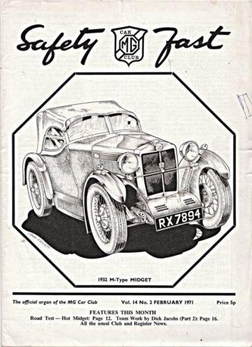 MG SAFETY FAST MG CAR CLUB MAGAZINE 1932 M TYPE MIDGET PEN LINE DRAWING 1971
