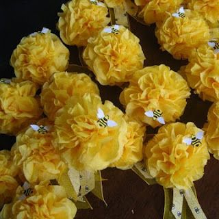Tissue paper corsages  http://designdazzle.blogspot.com/2010/04/parties-yellow-black-white-and-bees.html