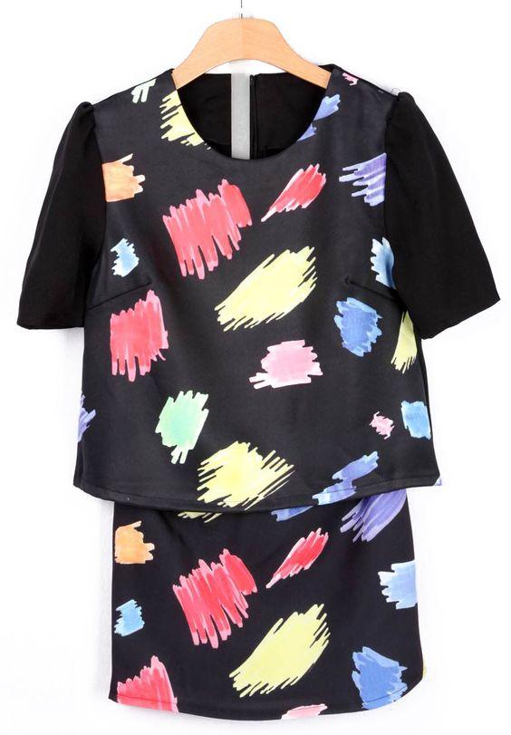 Black Short Sleeve Graffiti Print T-Shirt With Shorts - Sheinside.com