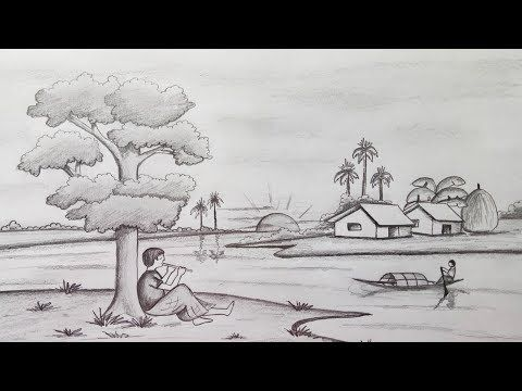How To Draw Scenery Landscape By Pencil Sketch Step By Step Easy Draw Youtube Landscape Pencil Drawings Landscape Sketch Drawing Scenery