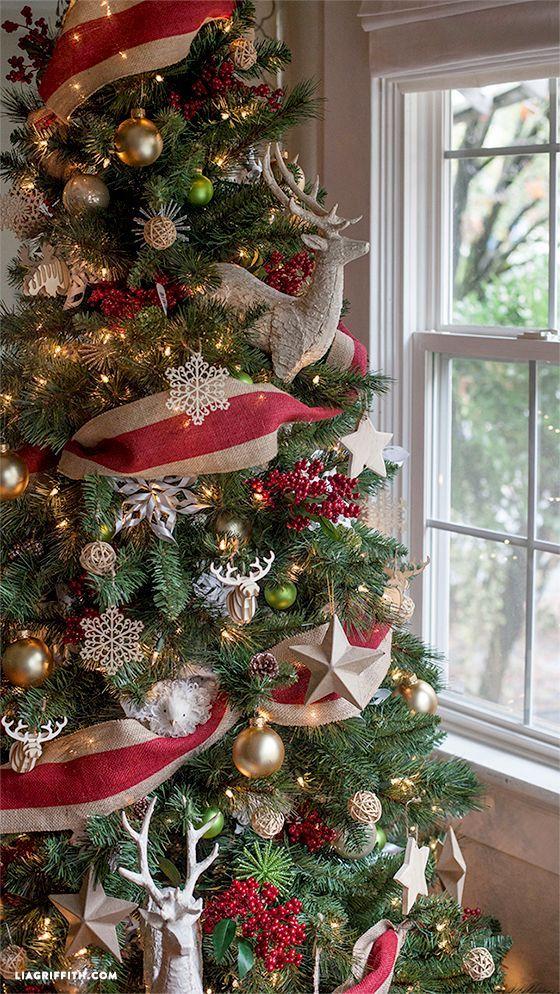 decorating christmas tree with burlap ribbon  Rainforest Islands