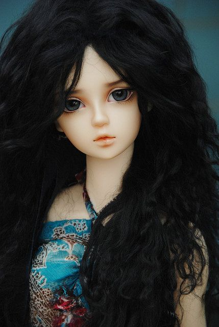 """10in"""" Long Black Mohair Wavy Wig (Elastic Size) for Volks BJD SD Dolls by Natrume on Etsy.com"""
