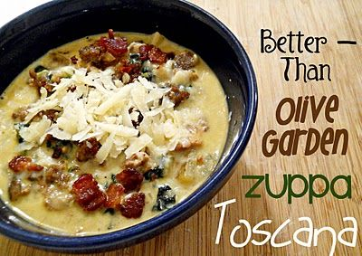 better than olive garden Zuppa Toscana~ Not sure about this, Zuppa Toscana is my favorite.  I'll make it and let you know :O)